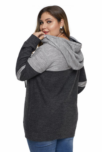 Black Color Block Pullover Plus Size Hoodie with Pocket LC252811