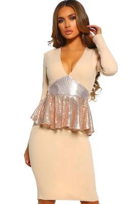 Midnight Hour Stone Sequin Peplum Long Sleeve Midi Dress