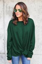 Green Knot Twist Front Long Sleeve Casual Pullover Sweatshirt
