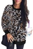 White Leopard Print Long Sleeve Pullover Sweatshirt