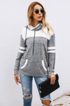 Gray Color Block Pullover Hoodie with Pocket