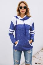 Blue Color Block Pullover Hoodie with Pocket