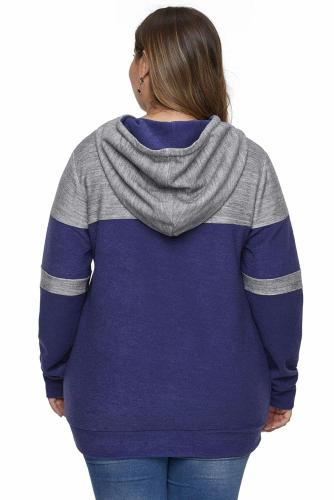Blue Color Block Pullover Plus Size Hoodie with Pocket LC252811