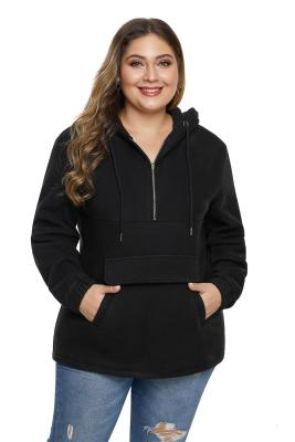 Black Zip Neck Drawstring Plus Size Hoodie
