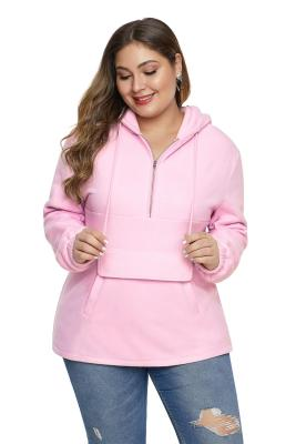 Pink Zip Neck Drawstring Plus Size Hoodie