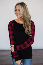 Black Plaid Sleeve Top