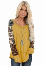 Long Sleeve Leopard Patch Round Neck Waffle Top