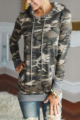 Camouflage Floral Drawstring Hoodie Sweatshirt