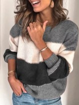 Grey Color Block Cross Stitching Pullover Sweater