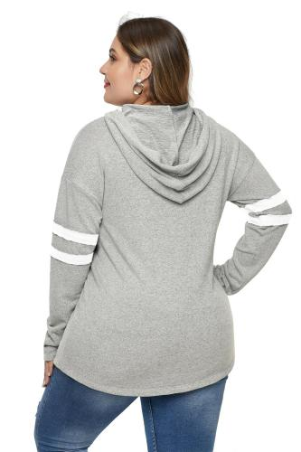 Gray Plus Size Long Sleeve Pullover Hoodie LC252756