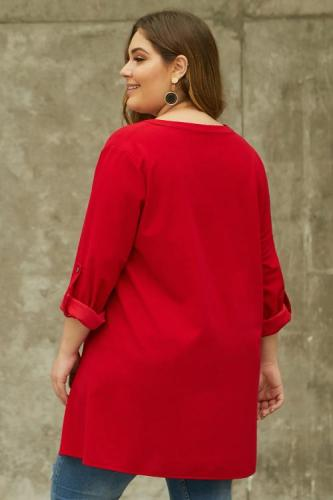 Red V Neck Tab Roll up Sleeve Slits Plus Size Top LC252707