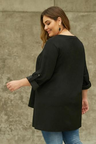 Black V Neck Tab Roll up Sleeve Slits Plus Size Top LC252707