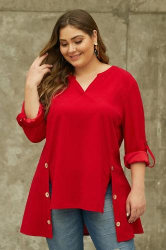 Red V Neck Tab Roll up Sleeve Slits Plus Size Top