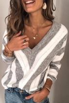 Gray Long Sleeve V-Neck Stripe Pullover Top
