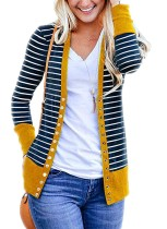 Yellow Button Front Stripe Cardigan