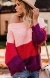 Pink Colorblock Patchwork Knitted Pullover Sweater