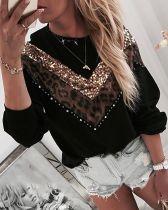 Black Sequin Patchwork Leopard Tshirt Tops