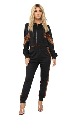 Black Leopard Drawstring 2 Pieces Sets with Hood