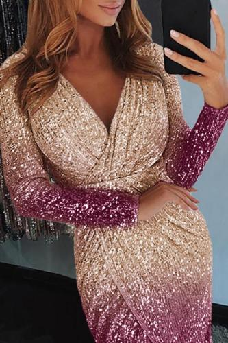 Apricot Ombre Sequin Wrapped Ruched Irregular Dress LC611529