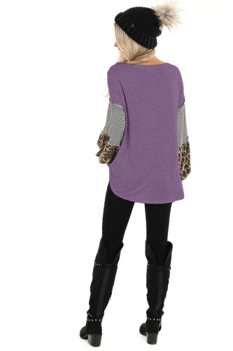 Purple Leopard Patchwork Puff Sleeve Stripe Top XC368
