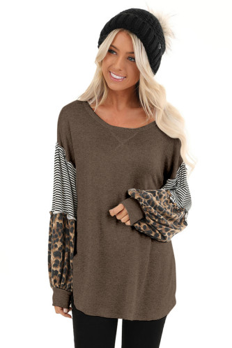 Coffee Leopard Patchwork Puff Sleeve Stripe Top