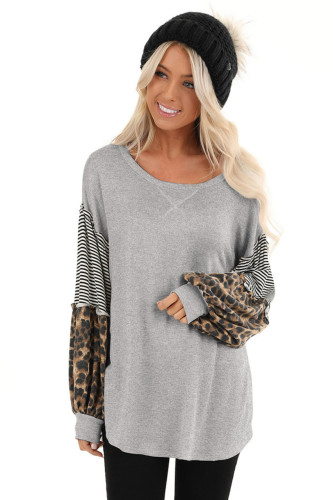 Grey Leopard Patchwork Puff Sleeve Stripe Top