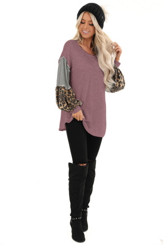 Wine Red Leopard Patchwork Puff Sleeve Stripe Top XC368