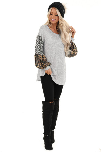 Grey Leopard Patchwork Puff Sleeve Stripe Top XC368