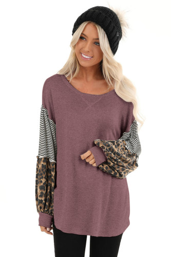 Wine Red Leopard Patchwork Puff Sleeve Stripe Top