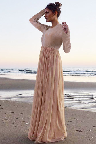Long Sleeve Sequin Bodice Cocktail Wedding Party Maxi Dress