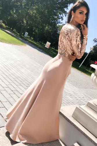 Apricot Long Sleeve V Neck Wrapped Sequin Bodice Long Party Dress LC611539