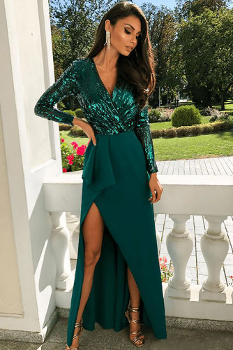 Green Long Sleeve V Neck Wrapped Sequin Bodice Long Party Dress