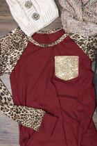 Burgundy Leopard Reglan Sleeve With Sequin Pocket Top
