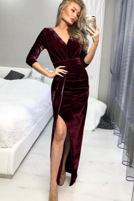 Red Deep V Neck Ruched Side Slit Party Velvet Dress
