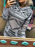 Grey Aztec Printed Knitted Hoodies with Pocket