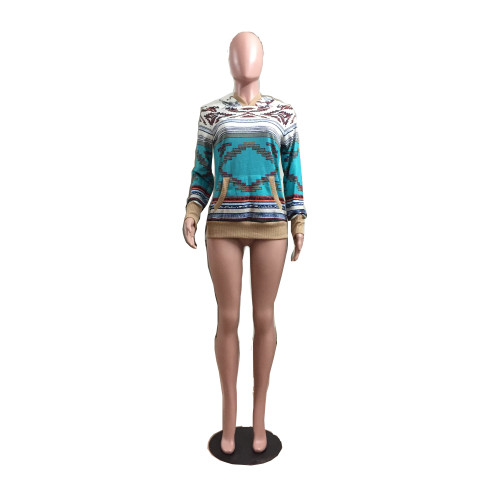 Blue Aztec Printed Knitted Hoodies with Pocket XC9605