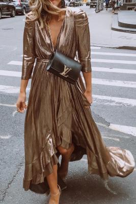 Metallic Shine Ruffled V Neck Maxi Party Dress