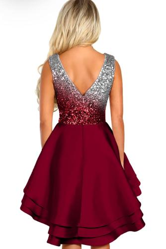 Red Ombre Sequin Multi Layer Skater Dress LC221075
