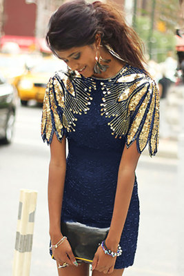 Blue Sequin Shoulder Cocktail Party Dress