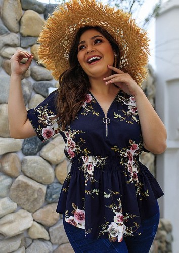 Navy Floral Print V Neck Blouse with Zipper Plus Size