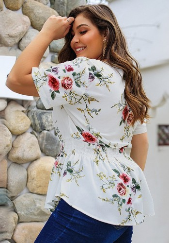 White Floral Print V Neck Blouse with Zipper Plus Size XCP82014