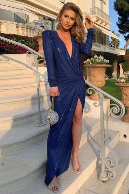 Royal Blue V-Neck Metallic Maxi Party Dress
