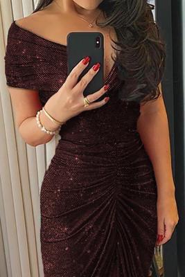 Red Glitter Off Shoulder Ruched Slit Party Dress
