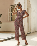 Wine Red Sleeveless Floral Jumpsuit with Button