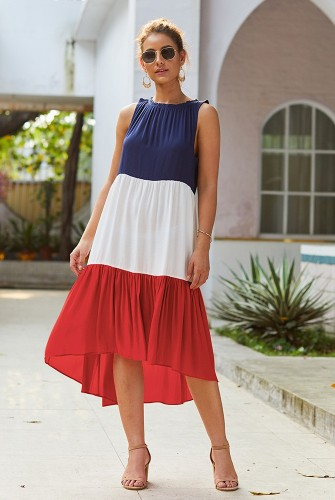 Red Colorblock Sleeveless Dress