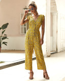Yellow Sleeveless Floral Jumpsuit with Button