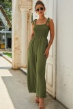 Army Green Sleeveless Knit Top Slip Jumpsuit
