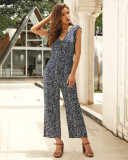 Navy Sleeveless Floral Jumpsuit with Button