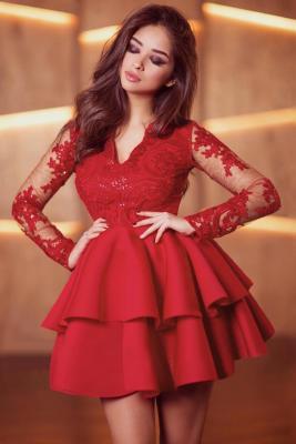 Red Sequin Embroidered Multilayer Skater Dress