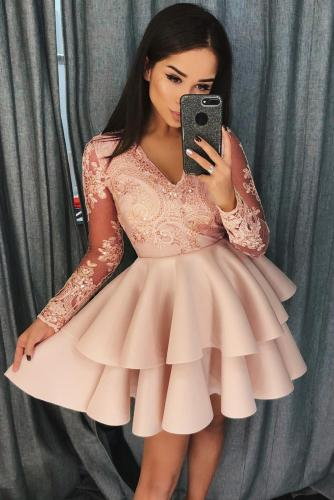 Apricot Sequin Embroidered Multilayer Skater Dress